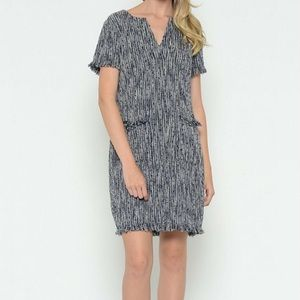 Esley Navy White Boucle Fringe Mini Shift Dress XS